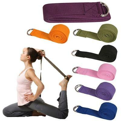 180cm 6FT Cotton Yoga Strap D-Ring Belt Waist Leg Fitness Pilates Exercise Band