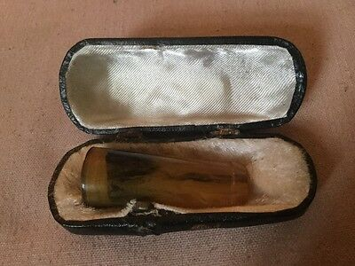 Antique Real Amber Cigar or Cheroot Holder,Gold Colour Mount In Original Case