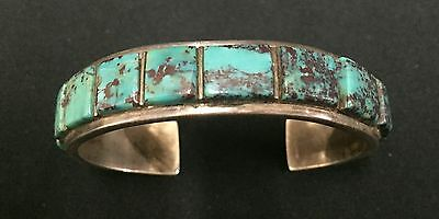 Vintage Turquoise & Sterling Cuff Bracelet * Native American Indian *Pawn*