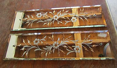 Antique Beveled Mirrored Glass Etched And Cut Door Push Plates