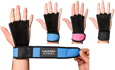 ULTRA FITNESS® Textured Leather Crossfit Gymnastic Hand Grips with wrist support
