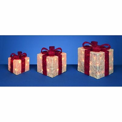 Set x3 LED Lit Parcels / Gifts Warm White/Red Christmas Lights Indoor/Outdoor
