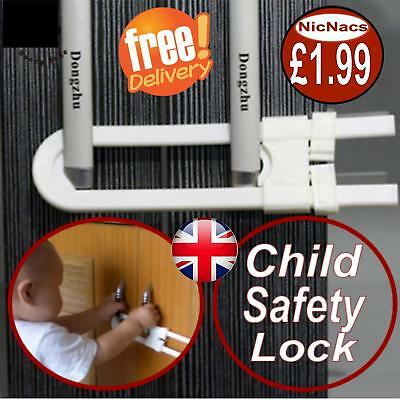 Child Baby Safety Cabinet Door Cupboard Drawer Handles Lock Children Security
