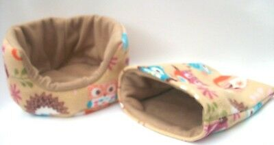 "guinea pig bed snuggle pouch  cuddle cup sack hedgehog sleeping bag 10"" 2 piece"