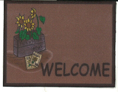Dollhouse Miniature Welcome Mat / Rug ~ Sunflowers in Crate  258WM