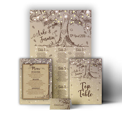 Personalised Kraft Sketch Tree Wedding Table / Seating Plan Large A1 A2 A3