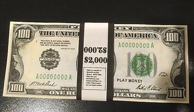 $2,000 1928 $100 Bills Play Money, 20 Pieces USA Bundle Prop Money Actual Size!