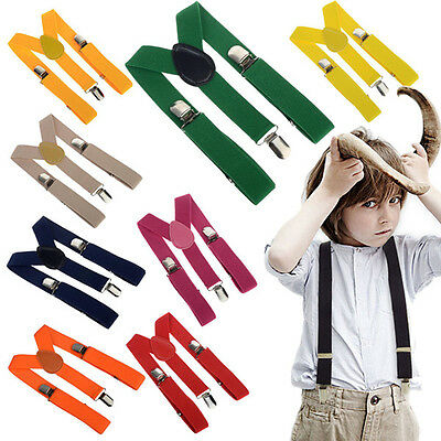 Children Unisex Elastic Y-Shape Braces Mens Adjustable Clip-on Kids Suspenders
