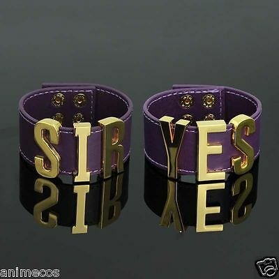 Harley Quinn Spiked Bracelets+Yes Sir Wristband pair punk rock cuffs set Cosplay