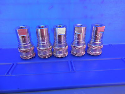 (5 Pcs) Parker SM-251-4FP Valved Hydraulic Quick Coupler 1/4 NPT Female
