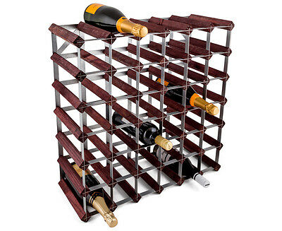 Gourmet Kitchen 42-Bottle Wine Rack - Stained Pine