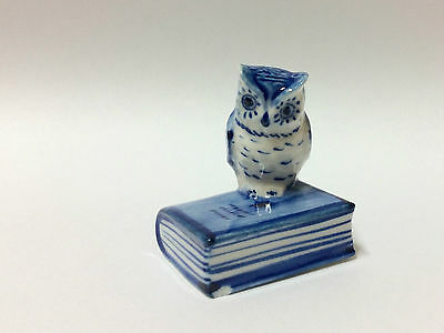 Tiny Miniature Collectible Ceramic Blue Owl on Book Zoo Animal Figurine Bird