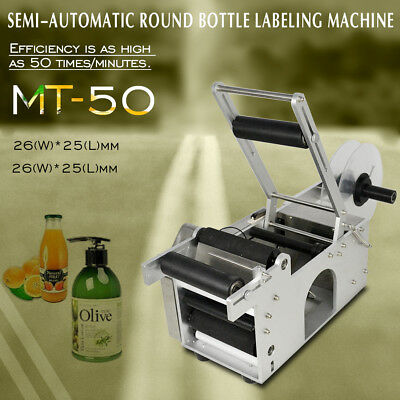 Good Item Mt-50 Semi-Automatic Round Bottle Labeling Machine Labeler Machine