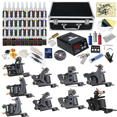 Complete Tattoo Kit 9 Top Machine Gun 40 Color Ink Power Supply Needle D23DD-13