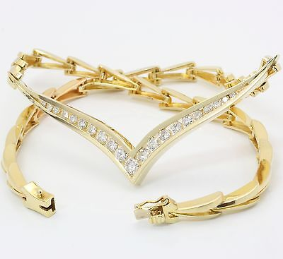 ♦ Brillant Hals Kette Collier in 585 Gelb Gold mit Brillanten Brilliant  Diamant