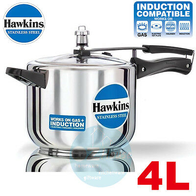 4L Hawkins Stainless Steel Pressure Cooker 4 Litres Lid Cookware INDUCTION