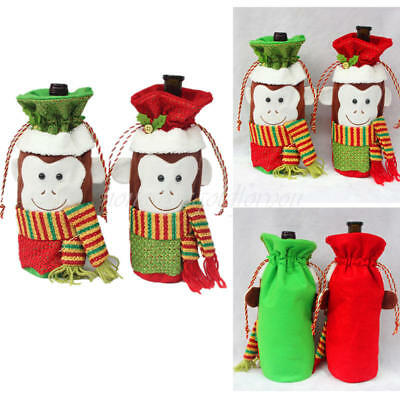 Christmas Decorations Cute Monkey Wine Bottle Cover Bags Dinner Party 1PC