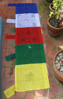 Five Colored Vertical Buddhist Pole Flags-Polyester Tibetan Prayer Flags
