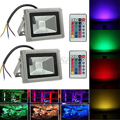 2X 10W RGB Color Changing LED Flood Light Outdoor Garden Pond Waterproof Lamp UK