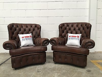 *SUPERIOR Vintage Brown Leather Chesterfield Monk Club Arm Chairs L��������K*