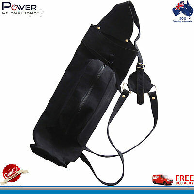 Suede Leather Back Arrow Quiver with Front Large Zipper Pocket, Black Color, NEW