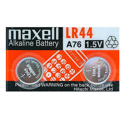 2 Maxell LR44 Battery AG13 357 A76 RW82 L1154 SR44 Alkaline Cell Batteries