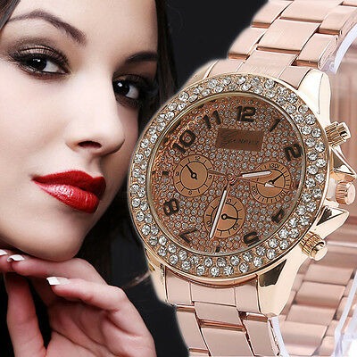 Women Geneva Stainless Steel Crystal Diamond Quartz Analog Dress Wrist Watch UK