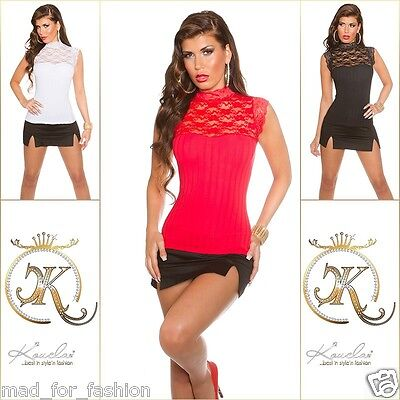 Stunning Ribbed Top Blouse with Lace.UK 8.10.12. EU 36.38.40.