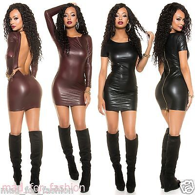 Sexy Mini Dress In Wet Look Latex Look With Full Back Zip Or Backless!!! 8/10.