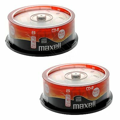 50 Maxell 700MB CD-R 80 mins Audio XLII Music Spindle Cake Box CDR