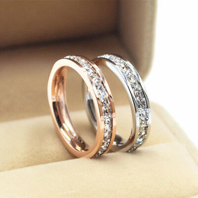 18K Gold/Silver/Rose Gold CZ Titanium Steel Rings Women's Wedding Band Size 3-10