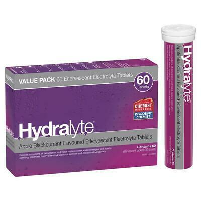 Hydralyte Electrolyte Effervescent Apple Blackcurrant 60 Tablets Exclusive Size