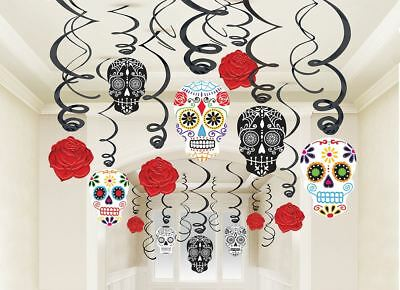 Halloween Party Day Of The Dead Hanging Swirl Decoration 30 Pack