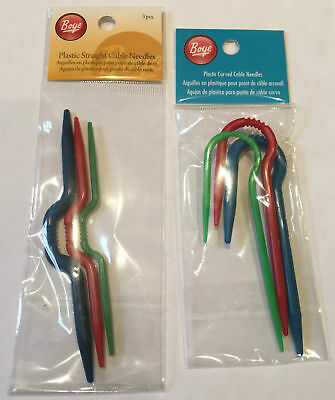Simplicity Boye 3x Cable Needles Curved Hook Straight Needles Plastic 3-5mm