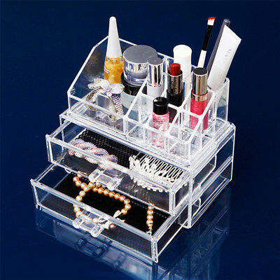 Clear Acrylic Cosmetic Makeup Case Organizer Holder Drawers Jewelry Storage Box