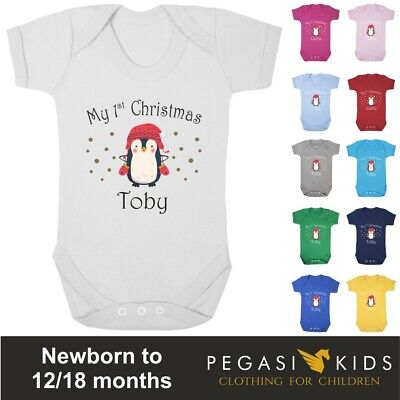 Baby Grow - 1st Christmas Personalised Penguin Xmas Present Vest Boy Girl First