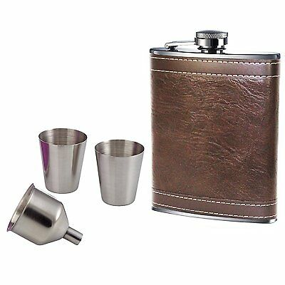 8oz Hip Flask Set Brown Leather Effect Quality Stainless Steel 2 Cups Funnel