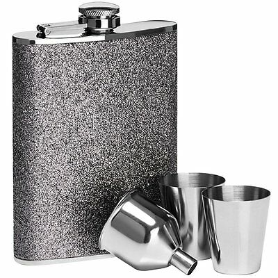 8oz Hip Flask Set Silver Glitter Hip Flask Stainless Steel 2 Cups & Funnel