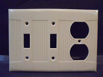 Rare Vtg Eagle Tuxedo Switch, Switch, Receptacle Plate Ivory Bakelite? 3 Gang