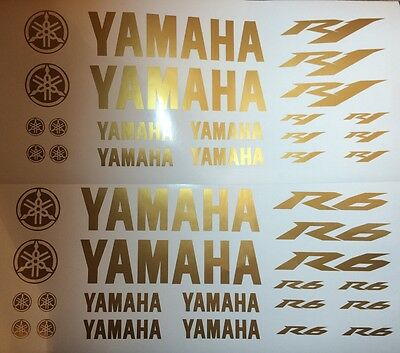 Yamaha R1 or R6 in Gold Motorsport Sticker Racing Set for Motorcycle Car