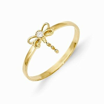 14k Yellow Gold CZ Dragonfly Baby Ring.