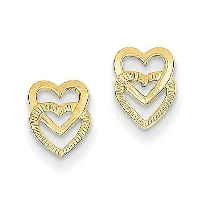 14K Yellow Gold Polished Double Heart Post Earrings (9MM x 6MM)