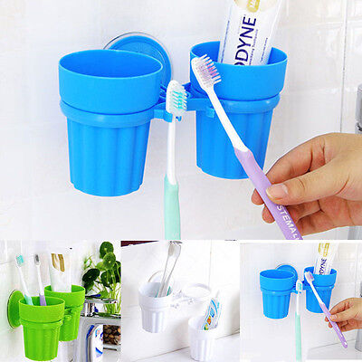 Double Toothbrush Toothpaste Suction Cup Holder Bathroom Wall Organizer Lovely