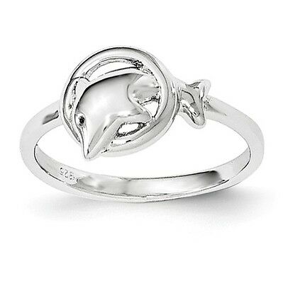Sterling Silver Polished Dolphin in Hoop Ring