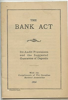 Old 1924 Booklet The Bank Act Canadian Bankers Association