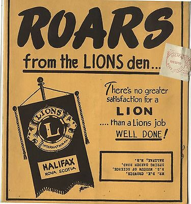 Old 1953 Booklet Roars from the Lions Den Lions Club Halifax NS
