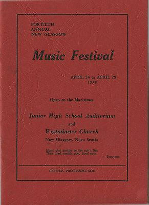 Old 1978 Booklet New Glasgow Music Festival