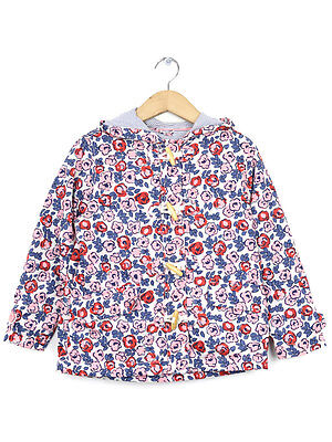 Boden Girls Pink Floral Mac With Toggle Fastening Size 7-8 Years