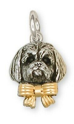 Lhasa Apso Charm Sterling Silver And 14k Gold Dog Jewelry LSZ4W-C