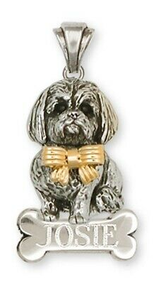Lhasa Apso Personalized Pendant Silver And 14k Gold Dog Jewelry LSZ5W-NP